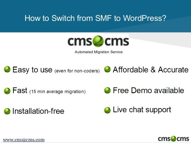 How to Switch from SMF to WordPress?  Automated Migration Service  www.cms2cms.com