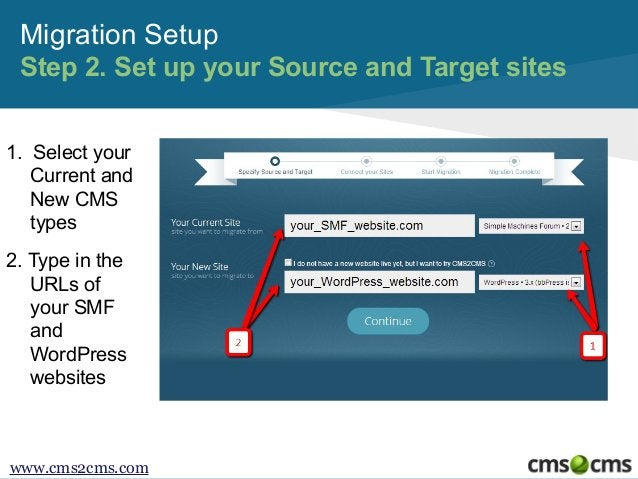 Migration Setup Step 2. Set up your Source and Target sites 1. Select your Current and New CMS types 2. Type in the URLs o...