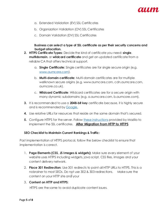 Seo Checklist To Migrate Website From Http To Https