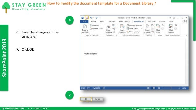 How to modify the document template for a document library in sharepo template for a document library 5 sharepoint2013 maxwellsz