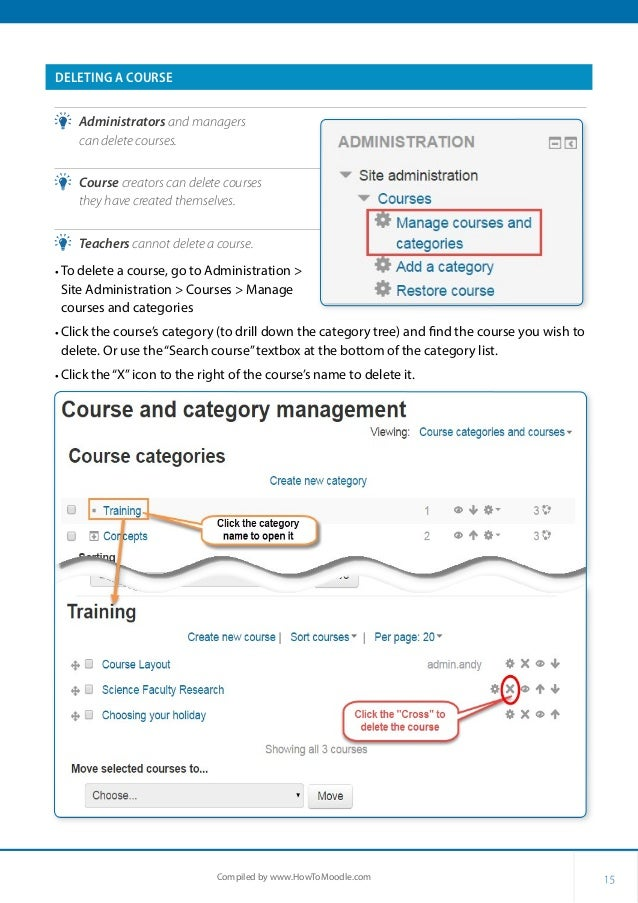 15Compiled by www.HowToMoodle.com DELETING A COURSE •• Administrators and managers can delete courses. •• Course creators ...