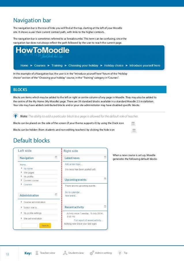 Key: Teacher view Student view Admin setting Tip 18 Navigation bar The navigation bar is the row of links you will find at...