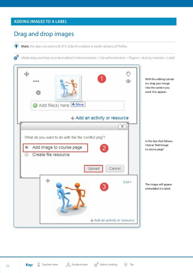 Key: Teacher view Student view Admin setting Tip 34 ADDING IMAGES TO A LABEL Drag and drop images •• Note: this does not w...