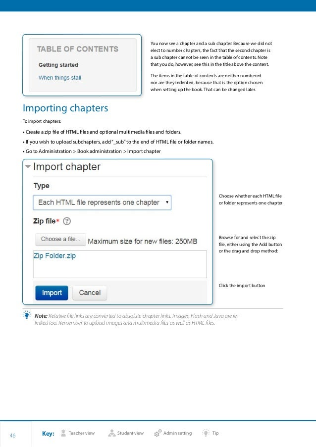 Key: Teacher view Student view Admin setting Tip 46 You now see a chapter and a sub chapter. Because we did not elect to n...