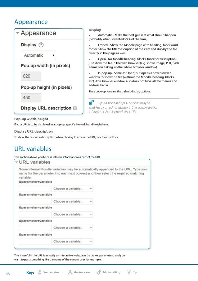 Key: Teacher view Student view Admin setting Tip 48 Appearance Display •• Automatic - Make the best guess at what should h...