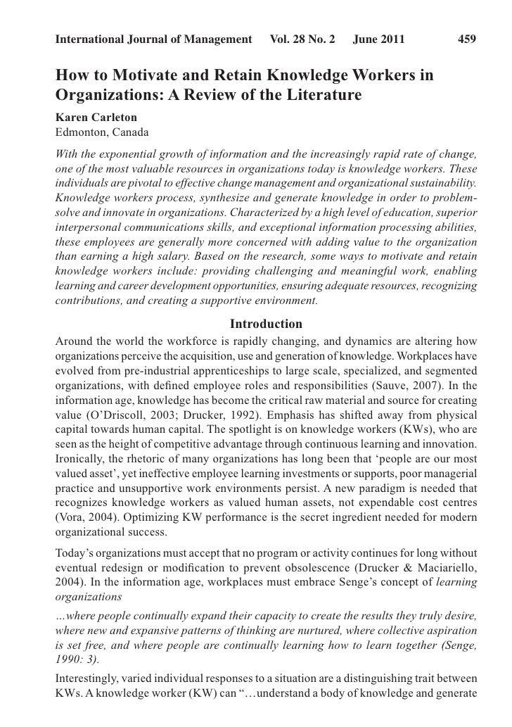 International Journal of Management          Vol. 28 No. 2    June 2011             459How to Motivate and Retain Knowl...