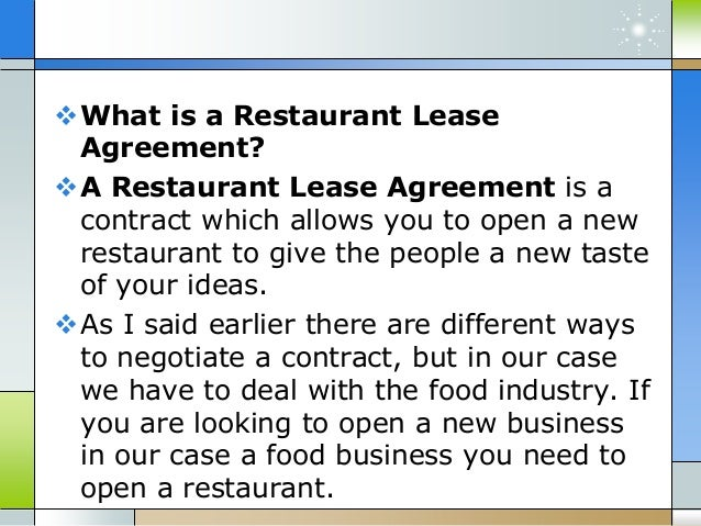 How To Negotiate A Restaurant Lease Agreement