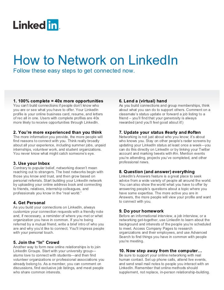 How to Network on LinkedIn (PDF)