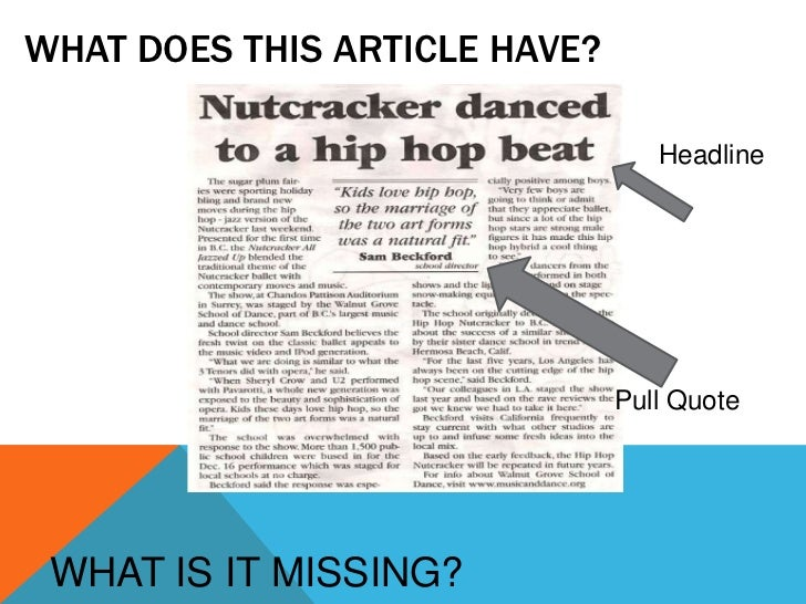 Assignment: how to create a newspaper article