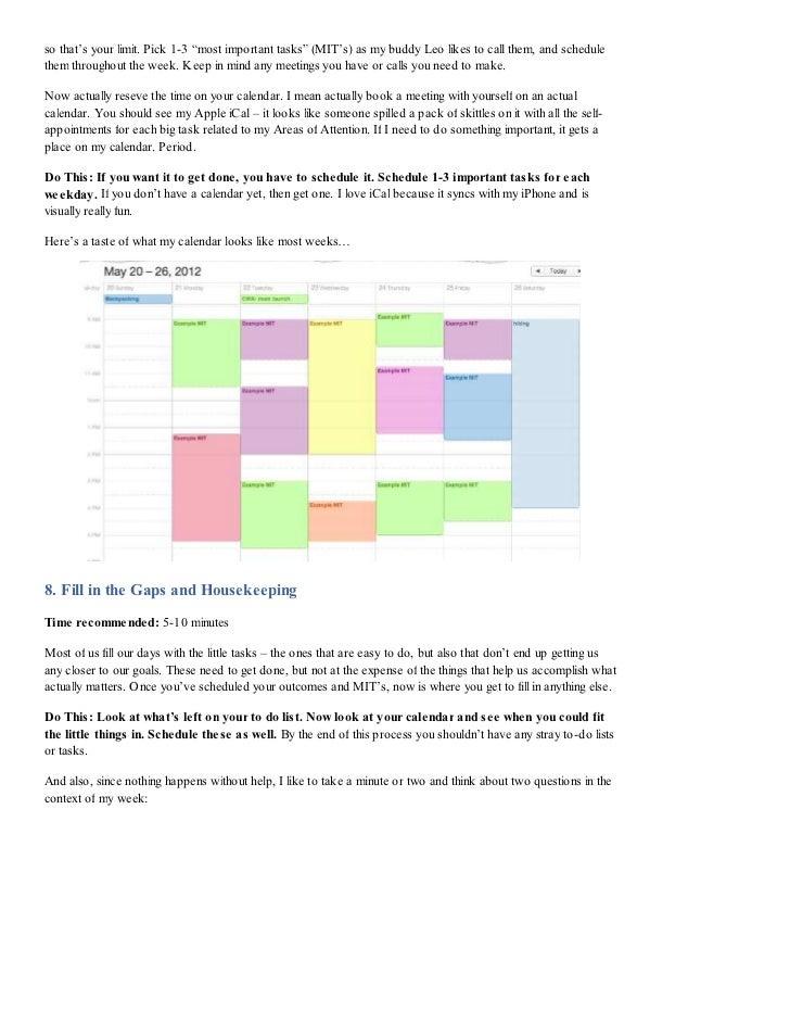 How Tony Robbins Plans His Week My 5 Step Process Free Worksheet D
