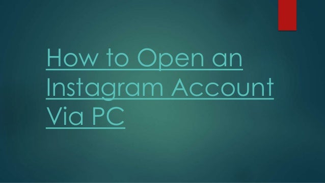 how to create instagram account on pc