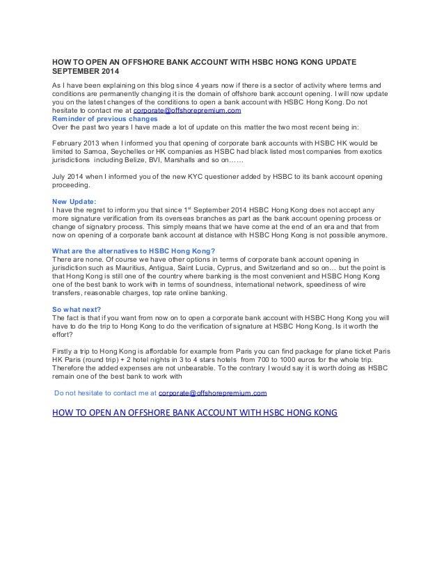hsbc offshore online bank account