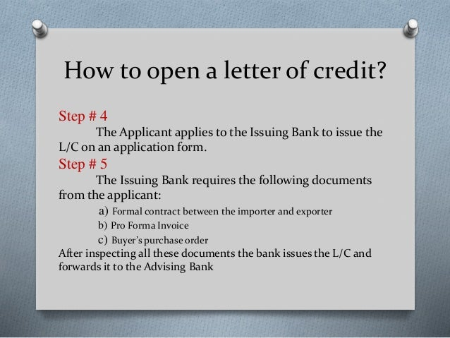 How to open letter of credit