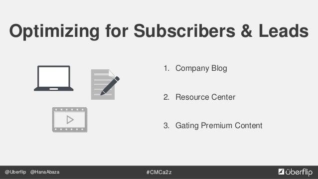 @Uberflip #CMCa2z@HanaAbaza Source: anumhussain.com Company Blog Build Subscribers  Drive Traffic, Build Growth