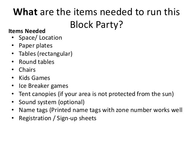 old version how to organize a neighborhood block party