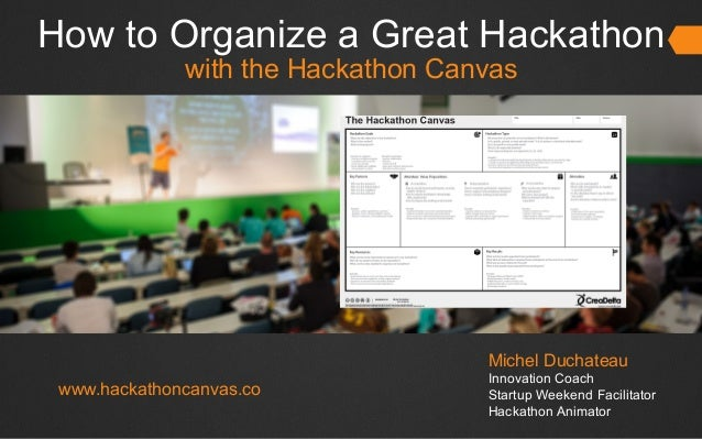 How to Organize a Great Hackathon with the Hackathon Canvas Michel Duchateau Innovation Coach Startup Weekend Facilitator ...