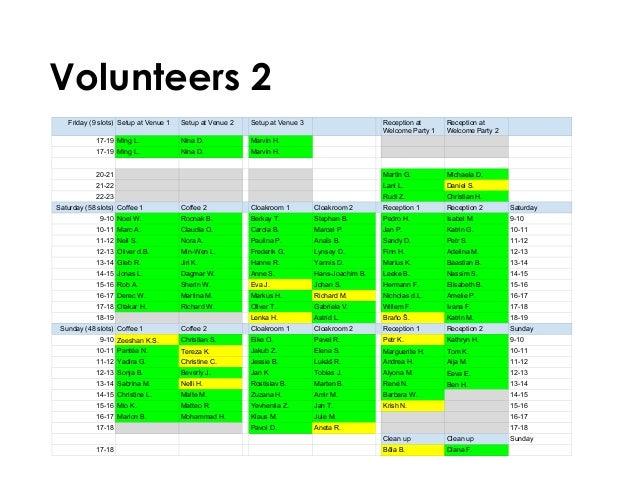 Volunteers 2 Friday (9 slots) Setup at Venue 1 Setup at Venue 2 Setup at Venue 3 Reception at Welcome Party 1 Reception at...