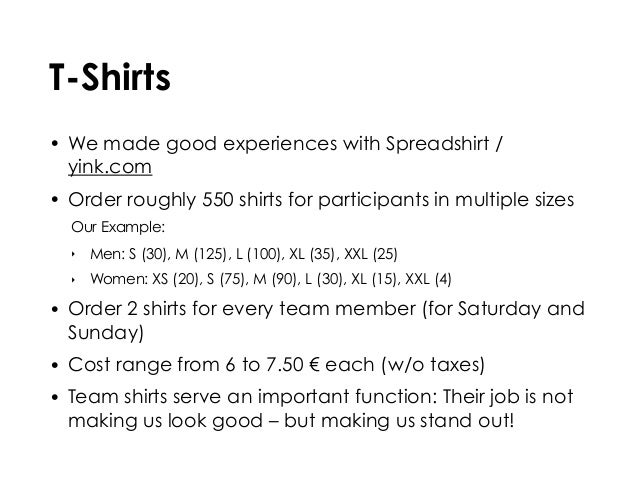 T-Shirts • We made good experiences with Spreadshirt / yink.com • Order roughly 550 shirts for participants in multiple si...