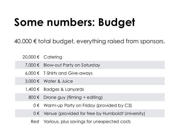 Some numbers: Budget 40,000 € total budget, everything raised from sponsors. 20,000€ Catering 7,000€ Blow-out Party on S...