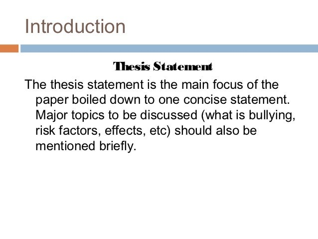Essay on bullying introduction