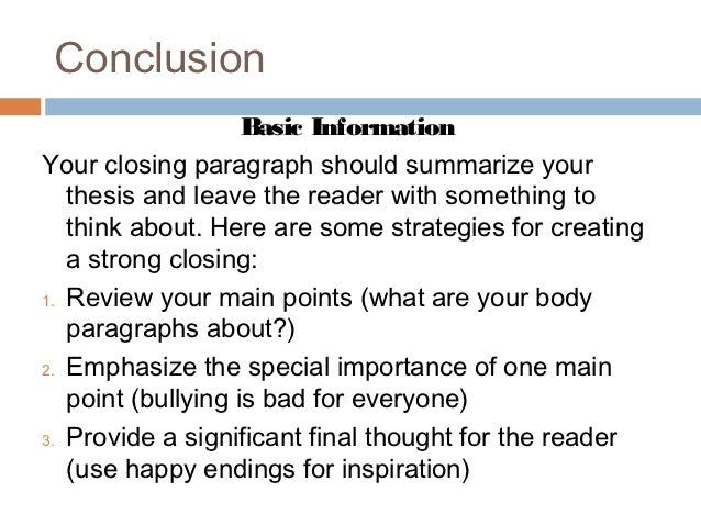 How to outline an introductory and concluding paragraph