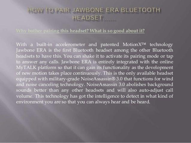 how to put jawbone era in pairing mode