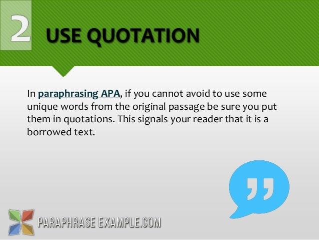 Apa style how to paraphrase
