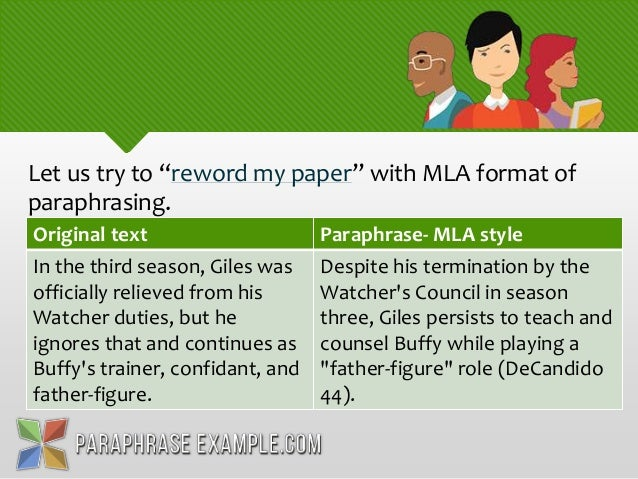 how to paraphrase mla style