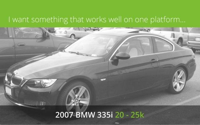 I want something that works well on one platform...  2007 BMW 335i 20 - 25k