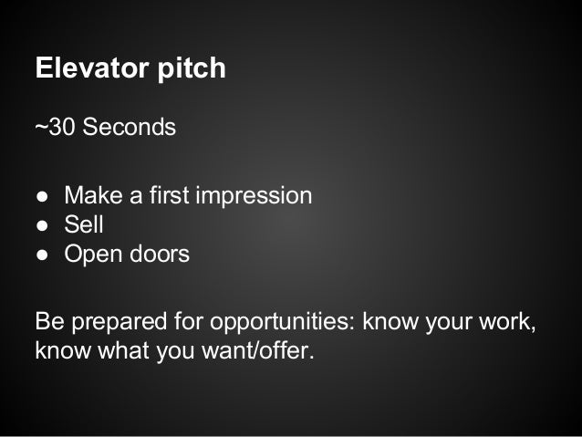 How to pitch for 30 second pitch template