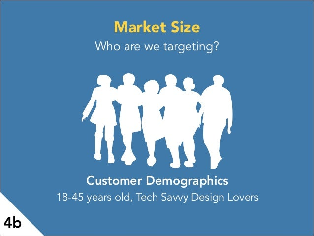 Customer Demographics 18-45 years old, Tech Savvy Design Lovers 4b Market Size Who are we targeting?