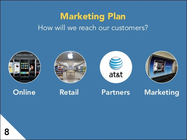 Online PartnersRetail Marketing Marketing Plan How will we reach our customers? 8