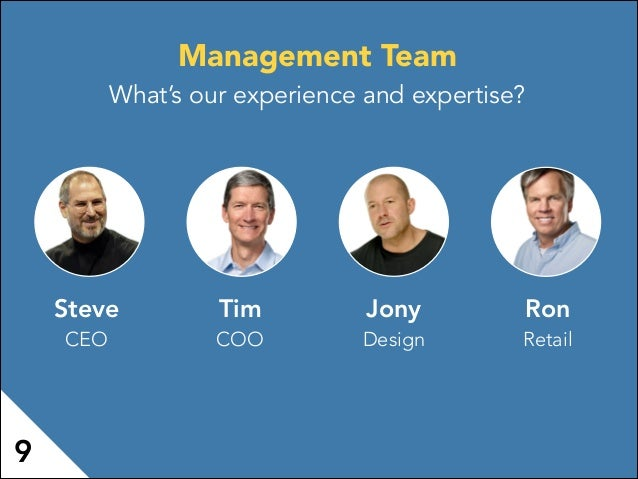 Steve CEO Tim COO Jony Design Ron Retail 9 Management Team What's our experience and expertise?