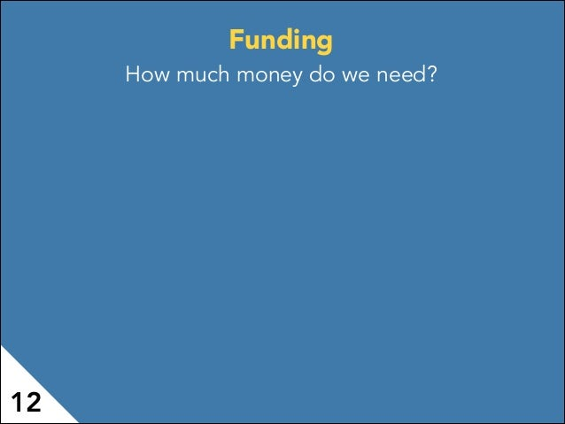 Funding How much money do we need? 12