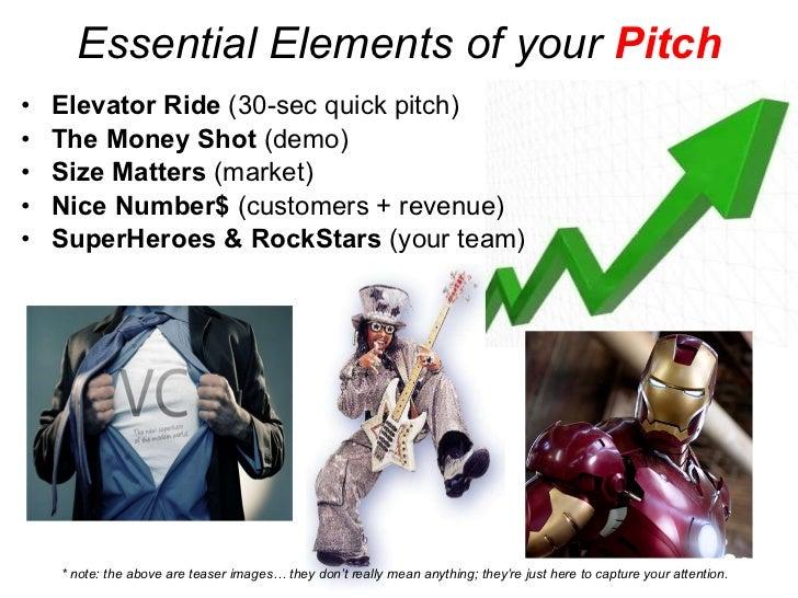 Essential Elements of your  Pitch <ul><li>Elevator Ride  (30-sec quick pitch) </li></ul><ul><li>The Money Shot  (demo) </l...