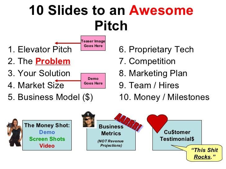 10 Slides to an  Awesome  Pitch <ul><li>1. Elevator Pitch </li></ul><ul><li>2. The  Problem </li></ul><ul><li>3. Your Solu...