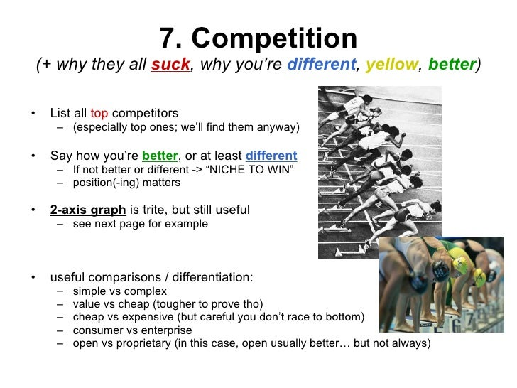 7. Competition (+ why they all  suck , why you're  different ,  yellow ,  better ) <ul><li>List all  top  competitors  </l...