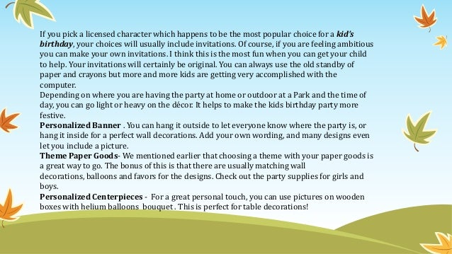 how to plan a kids party