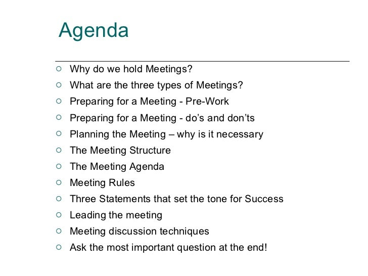 office meeting agenda sample