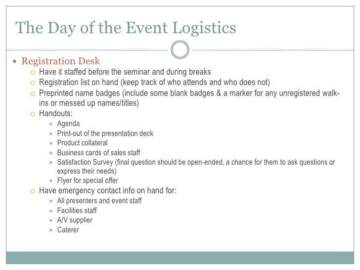 how to plan execute a seminar