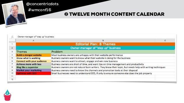 @concentricdots #wmconf16 ➋ TWELVE MONTH CONTENT CALENDAR Credit: Stephen Bateman, Concentric Dots