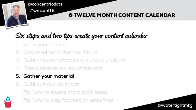 @concentricdots #wmconf16 ➋ TWELVE MONTH CONTENT CALENDAR Pink: Content Ideas Yellow: Monthly Theme Blue: Special Events P...