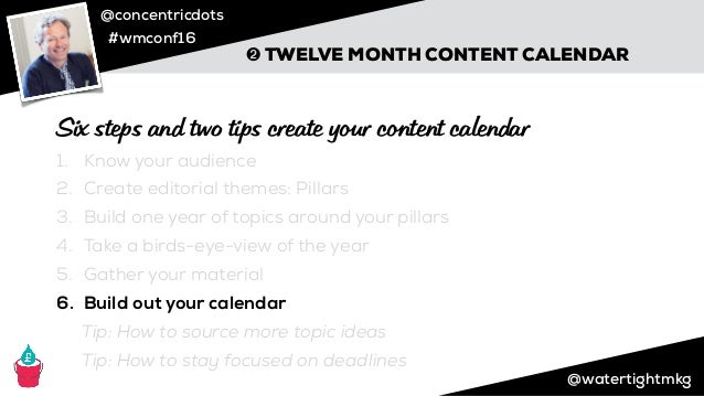 @concentricdots #wmconf16 Credit: Stephen Bateman, Using all sources mentioned ➋ TWELVE MONTH CONTENT CALENDAR