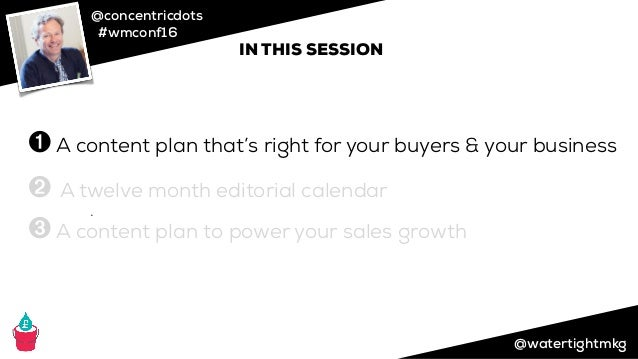 @concentricdots #wmconf16 @watertightmkg ➌ ➊ A content plan that's right for your buyers & your business ➋ A twelve month ...