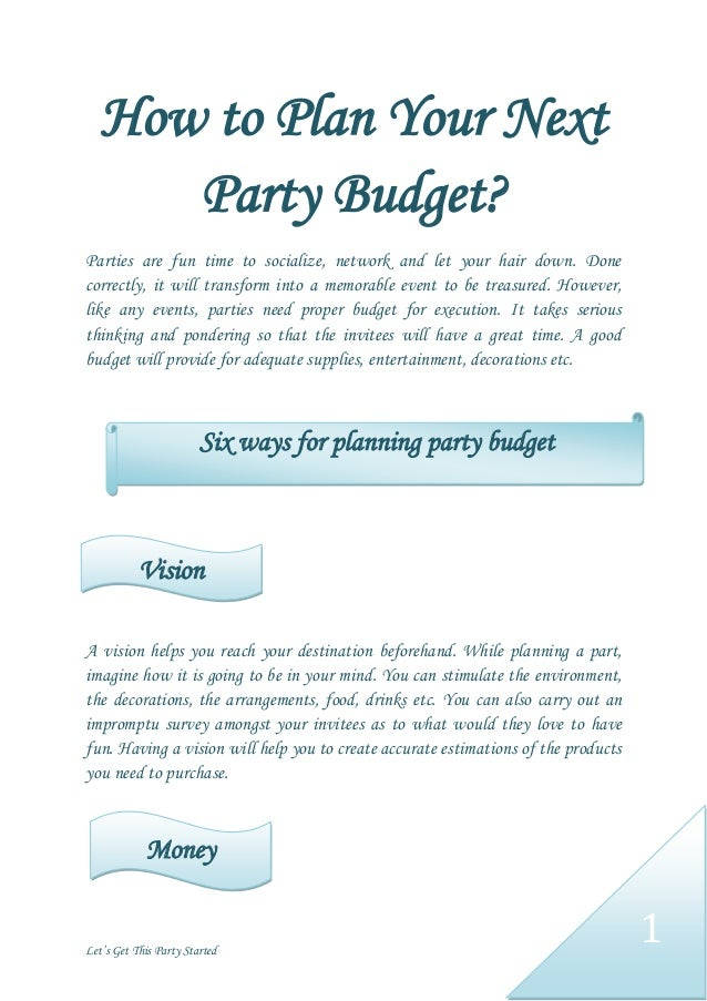 how to plan your next party budget