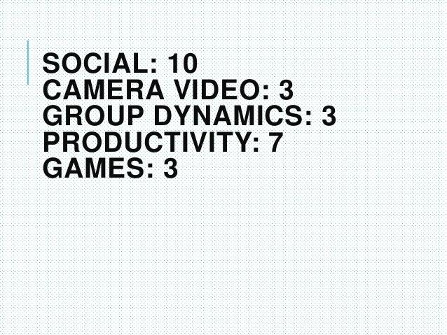 SOCIAL: 10 CAMERA VIDEO: 3 GROUP DYNAMICS: 3 PRODUCTIVITY: 7 GAMES: 3