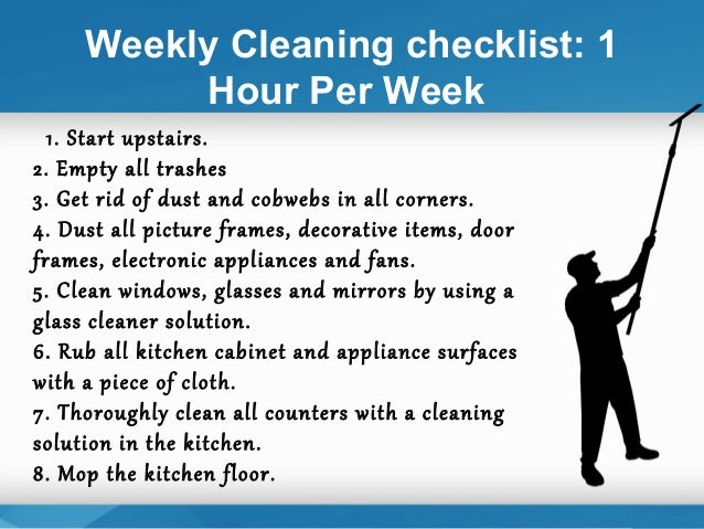 one of the best tips on cleaning 14 weekly cleaning checklist