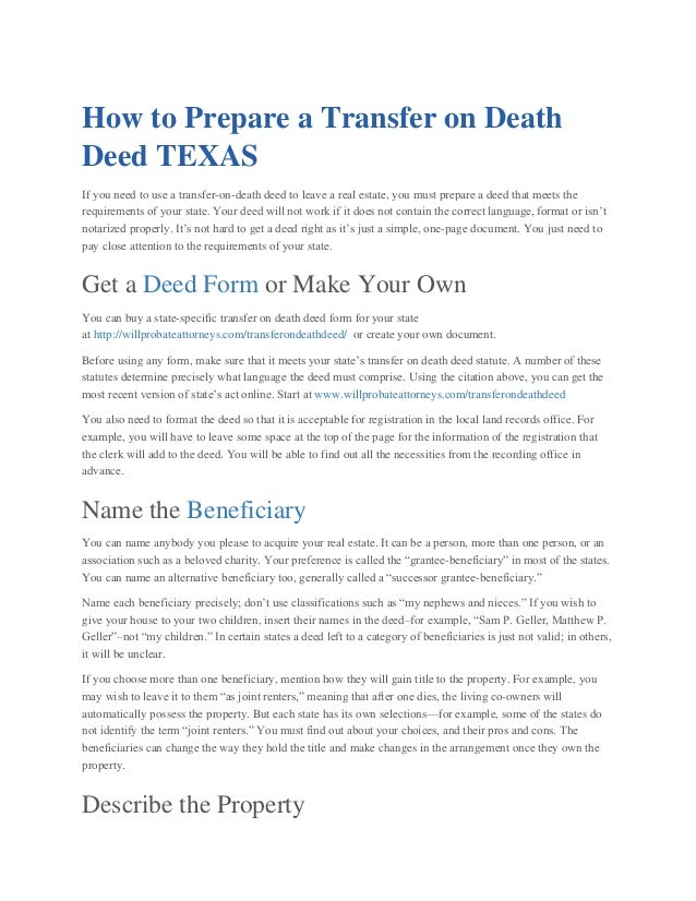 How to prepare a transfer on death deed texas