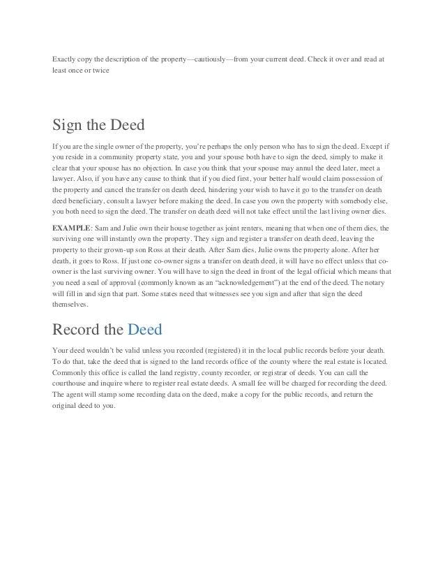 Transfer On Death Deed - Willprobateattorneys