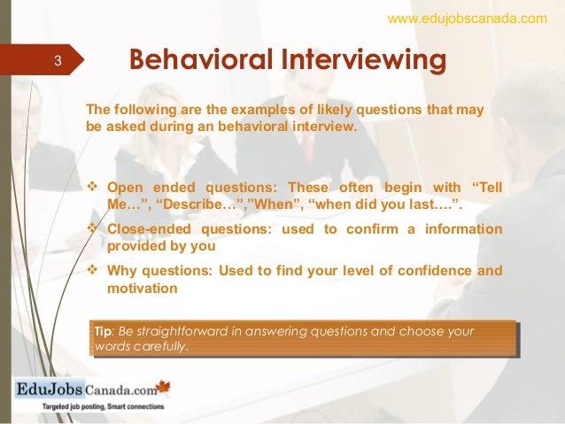 3 behavioral interviewing